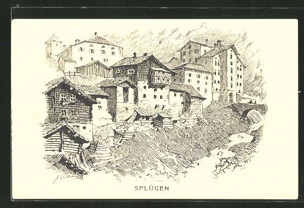 Künstler-AK Splügen, Panorama 0