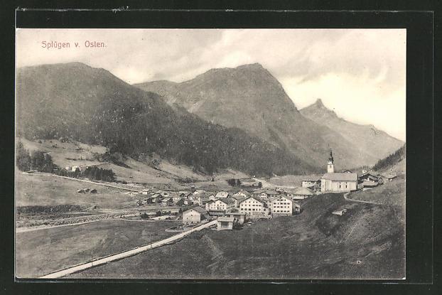 AK Splügen, Panorama v. Osten 0
