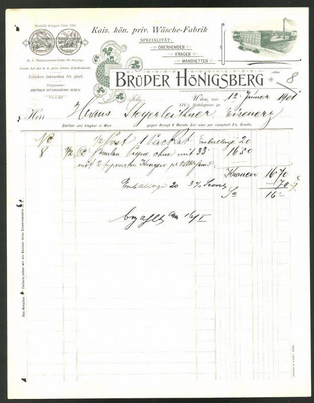 Rechnung Wien 1901, Wäsche-Fabrik Brüder Hönigsberg, Fabrik & Messe-Medaillen