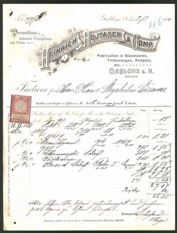 Rechnung Gablonz 1902, Fabrikation von Glaswaren Heinrich Hojtasch & Comp.
