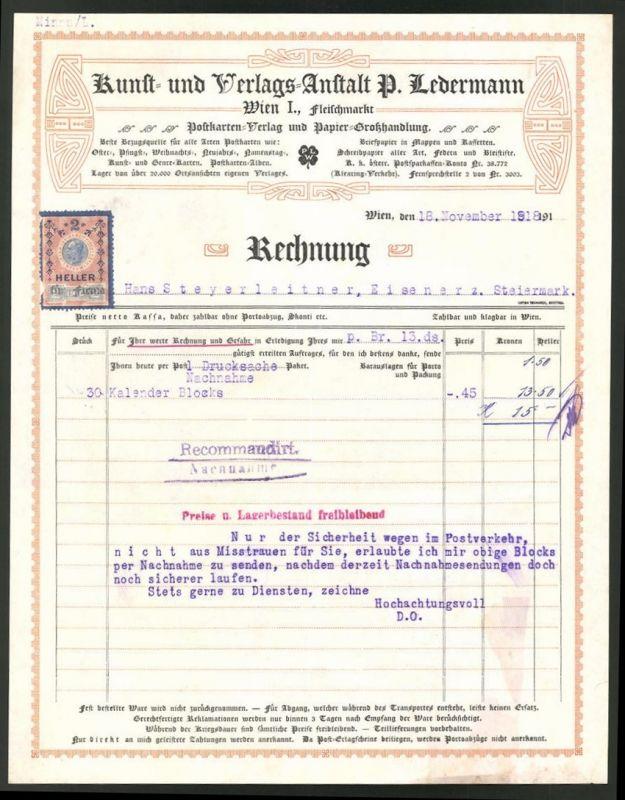 rechnung wien 1918 kunst und verlagsanstalt p ledermann ornamente 0