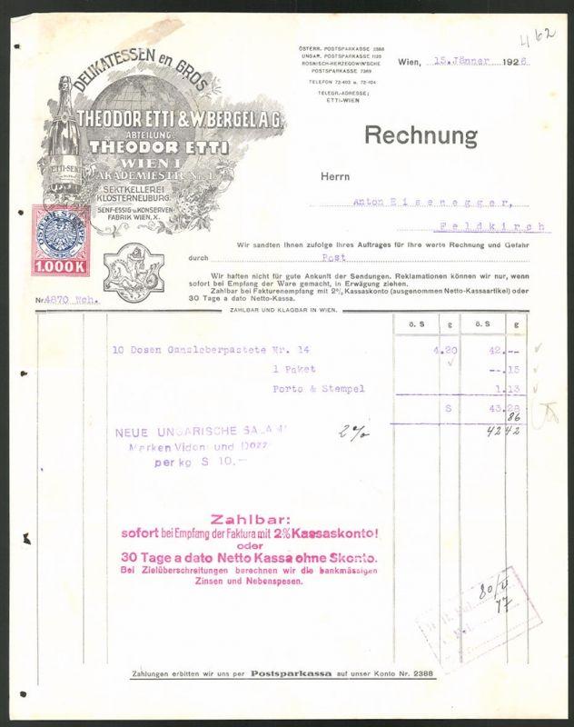 Rechnung Wien 1926, Delikatessen en Gros Theodor Etti & W. Bergel AG, Globus, Flasche Sekt, Wappen