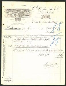 Rechnung Düsseldorf 1907, Lackfabrik C. Diedrichs & Co., Fabrikgebäude und Messe-Medaille