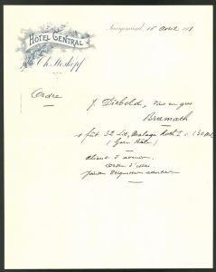 Briefkopf Saargemünd 1901, Hotel Central Ch. Stoskopf, Blütenzweig