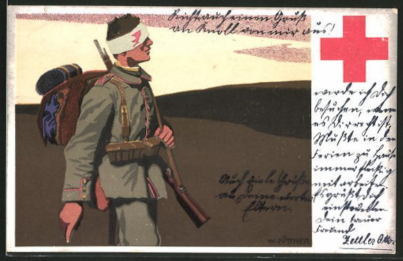 Künstler-AK W.I.: Verwundeter Soldat in Uniform, Rotes Kreuz