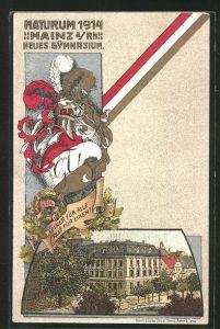 Künstler-AK Mainz, Absolvia Maturum 1914, Neues Gymnasium