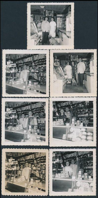 7 Fotografien Tante Emma Laden - Kolonialwaren-Geschäft, Verkäufer mit Hund, Familie im Laden mit Verkaufstresen