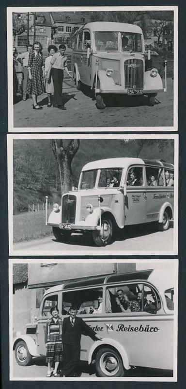 3 Fotografien Bus Opel Blitz, Reisebus Frankfurter Reisebüro, Kfz-Kennzeichen AH54-5612