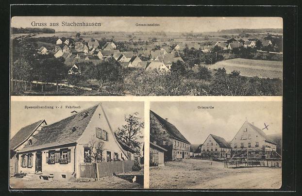 AK Stachenhausen, Gesamtansicht, Ortspartie, Spezereihandlung v. J. Fahrbach