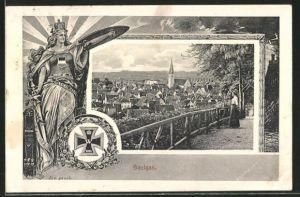 AK Saulgau, Ortsansicht, Germania mit Schwert und Schild