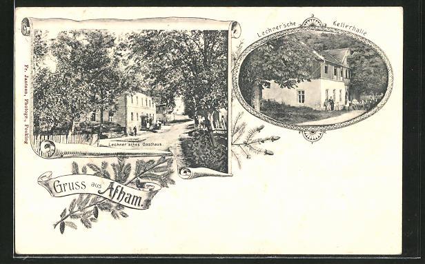 AK Afham, Lechner'sches Gasthaus, Lechner'sche Kellerhalle