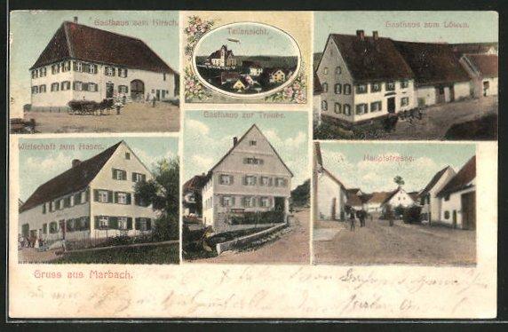 AK Marbach, Gasthaus zum Hirsch, Gasthaus zur Traube, Gasthaus zum Hasen
