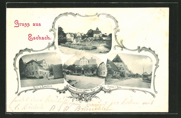 AK Eschach, Gasthaus & Brauerei zum goldenen Lamm, Gasthaus zum Adler
