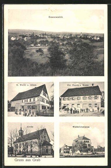 AK Grab, Gesamtansicht, Gasthaus zum Löwen, Gasthaus zur Krone, Kirche und Walderichsklause