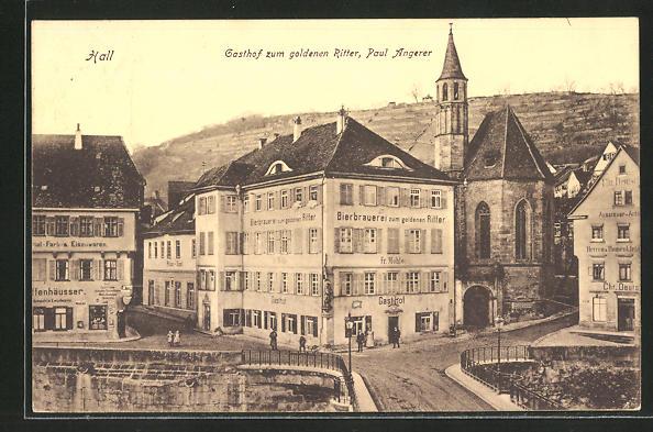 AK Hall, Gasthof und Brauerei zum goldenen Ritter, Paul Angerer
