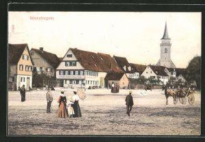 AK Metzingen, Ortspartie mit Blick zur Kirche