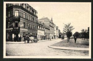 AK Rendsburg, Herrenstrasse mit Gasthaus Reichs-Krone