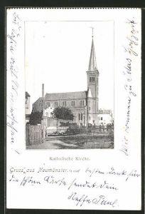 AK Neumünster, Blick zur kathol. Kirche