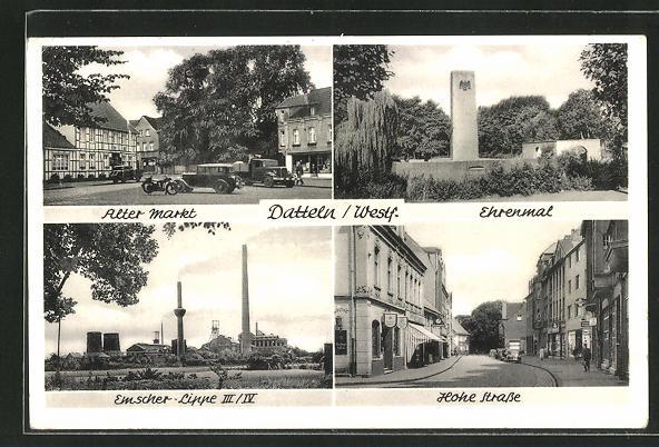 AK Datteln, Alter Markt, Ehrenmal, Emscher-Lippe III / IV, Hohe Strasse