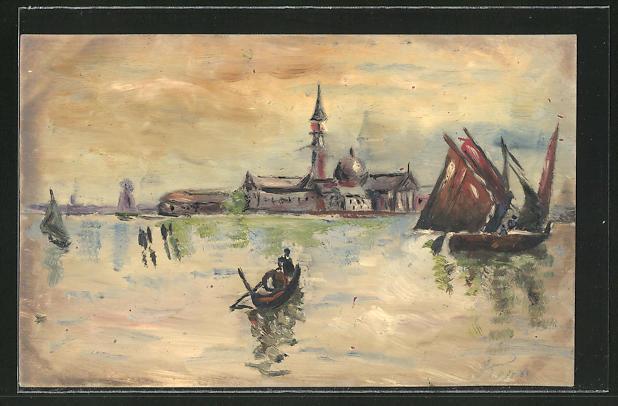 Künstler-AK Handgemalt: Lagunenlandschaft mit Insel & Ruderboot