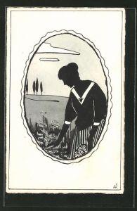 Künstler-AK Handgemalt: Silhouette einer jungen Frau in einer Landschaft