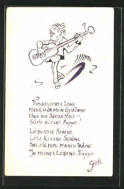 Künstler-AK Handgemalt: Mann spielt auf Gitarre & singt ein Liebeslied