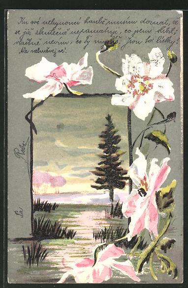 Künstler-AK Handgemalt: Landschaf mit Blüten