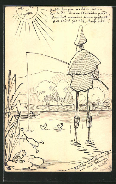 Künstler-AK Handgemalt: Angler & Frösche in der Sonne