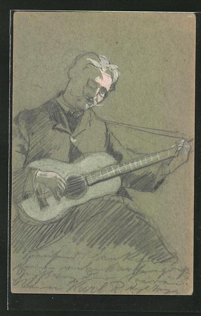Künstler-AK Handgemalt: Mann spielt auf einer Gitarre