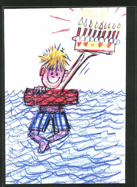 Künstler-AK Handgemalt: kleiner Junge schwimmt mit einer Torte im Wasser