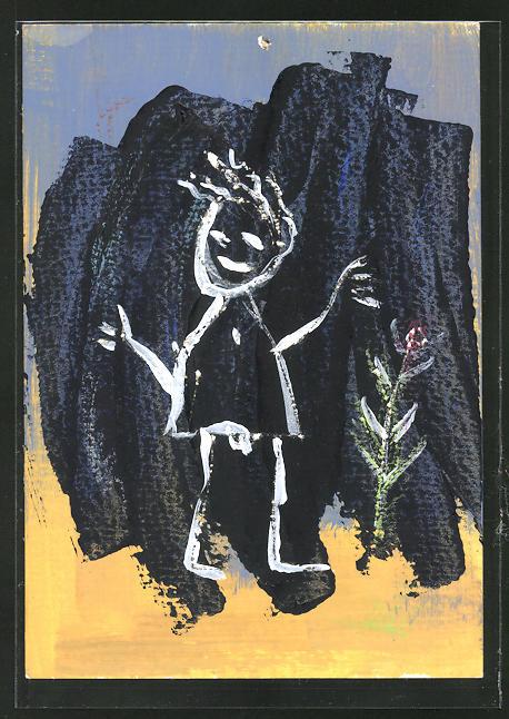 Künstler-AK Handgemalt: Strichmännchen mit Blume