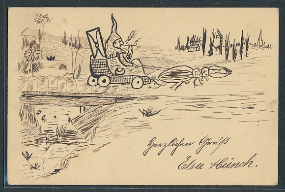 Künstler-AK Handgemalt: Zwerg in Kutsche, die ein Käfer zieht