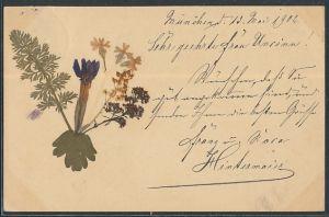 Trockenblumen-AK Strauss mit echten aufgeklebten Pflanzen