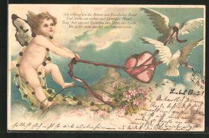Glitzer-Lithographie Ich schling' um die Herzen ein fesselndes Band..., Amor und weisse Tauben