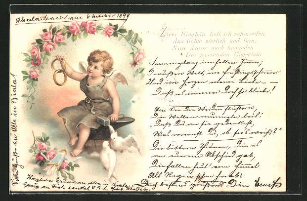 Lithographie Zwei Ringlein liess ich schmieden..., Amor als Schmied