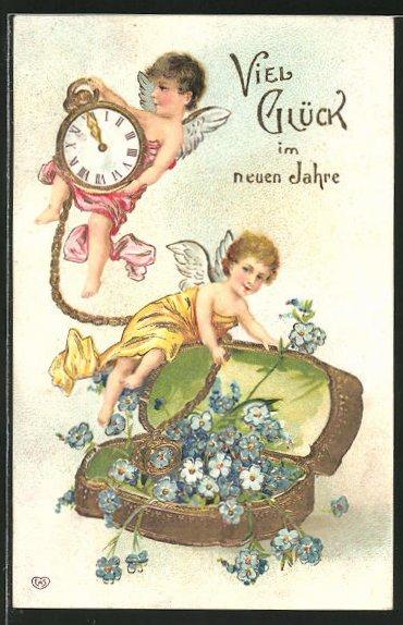 Präge-AK Engelchen mit Taschenuhr und Golddose