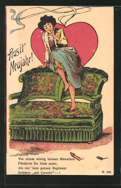 AK Dame flüchtet sich vor einer Maus auf ihr Herz-Sofa