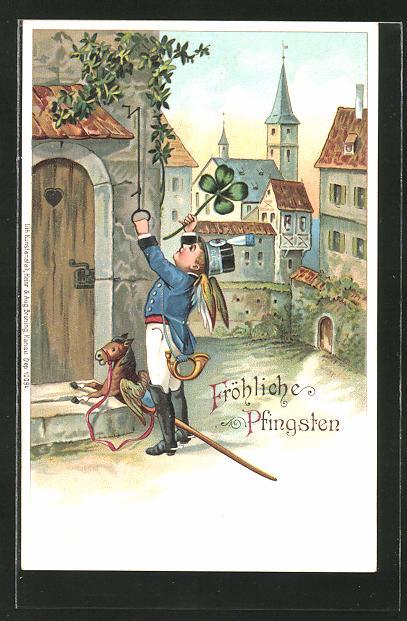 AK Engel als Briefträger mit Steckenpferd klingelt an einer Haustür