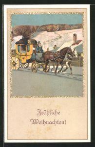 AK Postkutsche bei der Durchreise mit frierendem Kutscher
