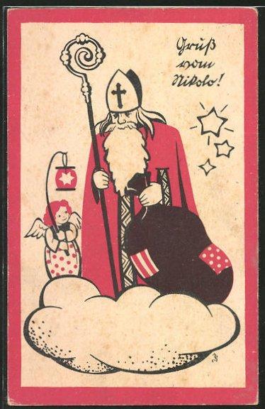 AK Nikolaus schwebt mit kleinem Engel & Sack auf einer Wolke, Krampus