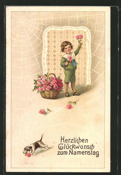 AK Namenstag, Knabe mit einem Korb voller Rosen