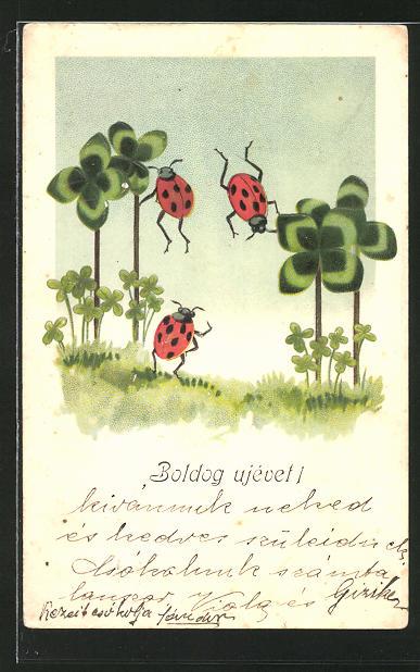 AK Marienkäfer flattern zwischen Kleeblättern umher