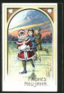 AK Kinder laufen Schlittschuh auf dem See