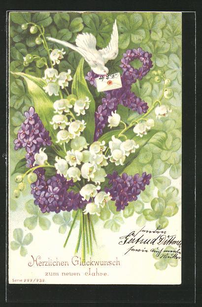 Präge-AK Kleine Brieftaube mit Anker aus Veilchen und Maiglöckchenstrauss, Blumenbild