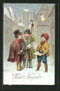 Präge-AK Verschneite kleine Nachtwächter singen zu Neujahr
