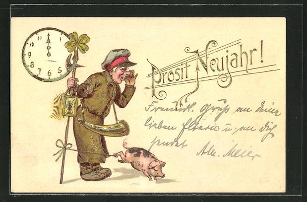 AK Nachtwächter mit einem Schwein - Neujahrsgruss