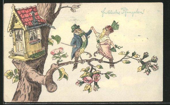AK vermenschlichte Tiere, Vogelpaar tanzt auf einem Ast