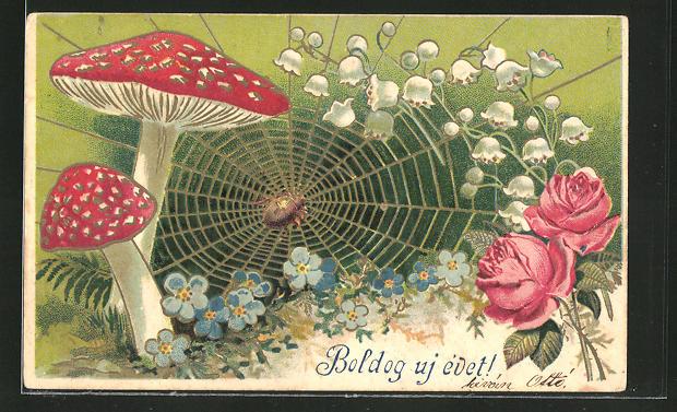 AK Spinne webt ihr Netz zwischen Pilzen und Blumen
