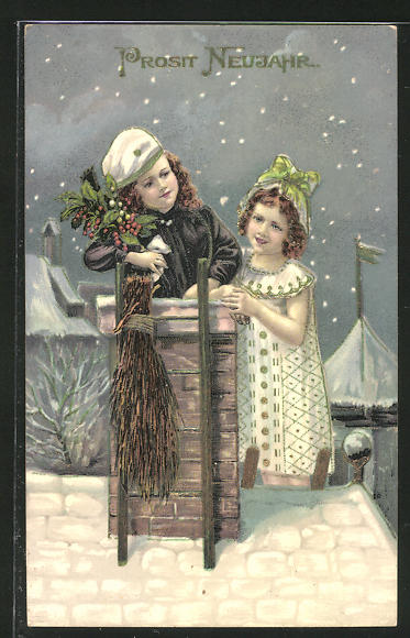 AK kleiner Schornsteinfeger mit Freundin bei Nacht auf einem Dach mit Goldverzierungen