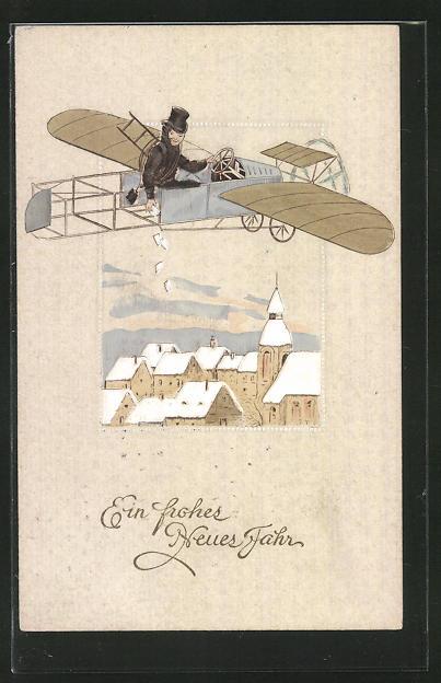 AK Ein frohes Neues Jahr, Schornsteinfeger wirft Briefe aus Flugzeug ab